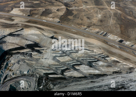 aerial photograph exposed veins of coal Interstate I-80, Kemmerer, Wyoming - Stock Photo