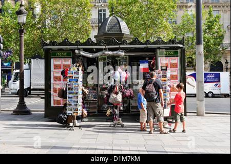 Tourist Gifts Shop, Champs-Élysées, Paris, France. - Stock Photo