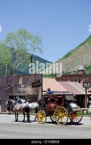 Historic Silverton Colorado linked to Durango by the Durango and Silverton Narrow Gauge Railroad in the Rocky mountains - Stock Photo
