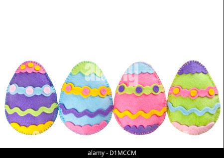 Colorful Easter eggs handmade of felt - Stock Photo