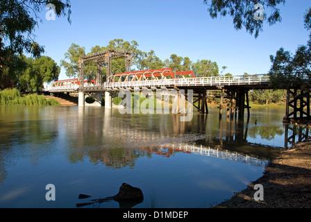 A bridge over the Murray River in Echuca, Victoria, Australia - Stock Photo
