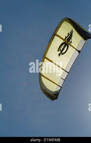 Flying a Kite on the former Airport Tempelhof in Berlin which was converted to a public Park, Germany - Stock Photo