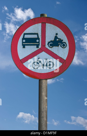 Polish road sign, ban on motorcycles, mopeds and cars, Poland, Europe, background sky - Stock Photo