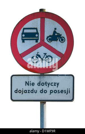 Polish road sign, ban on motorcycles, mopeds and cars, Poland, Europe, background white - Stock Photo