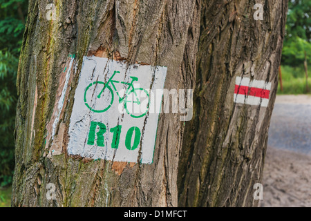 Information sign to the Polish R 10 cycle path along the Baltic Sea, Poland, Europe - Stock Photo