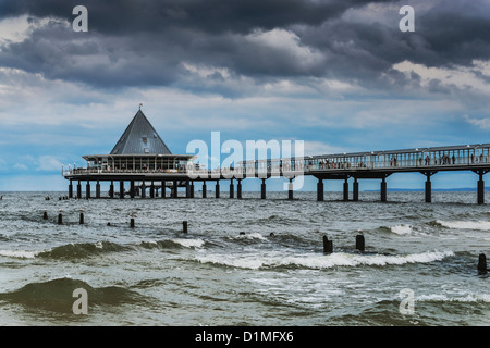 Seebrücke Heringsdorf, Pier at the Baltic Sea, Heringsdorf, Usedom Island, Mecklenburg-Western Pomerania, Germany, - Stock Photo