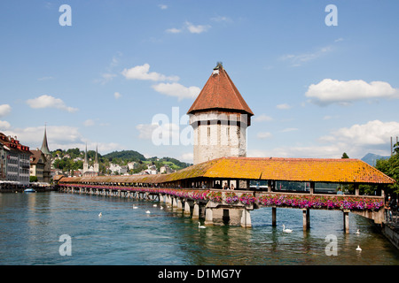 The Chapel Bridge (Kapellbrücke) in Lucerne Switzerland - Stock Photo