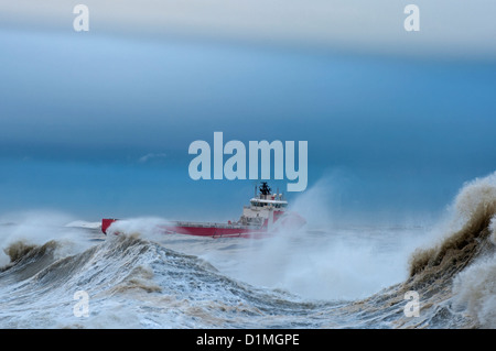 Oil support vessel battling against a storm on the North Sea near Aberdeen.  SCO 8898 - Stock Photo