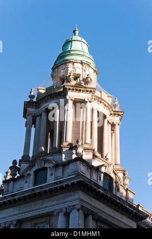 One of The Corner Towers of The Belfast City Hall in Donegall Square Belfast County Antrim Northern Ireland United - Stock Photo
