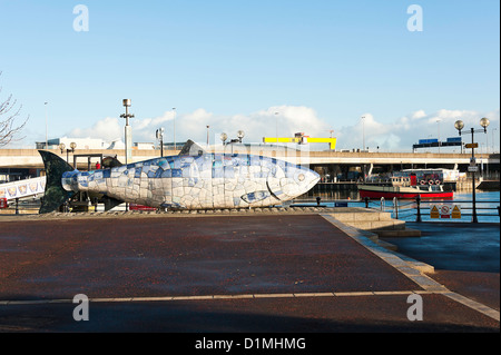 The Bigfish Mosaic Sculpture on the Waterfront in Belfast County Antrim Northern Ireland United Kingdom UK - Stock Photo