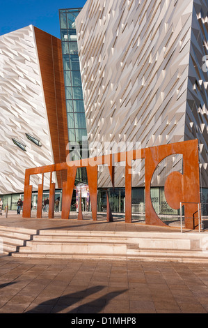 The Beautiful Exterior of the Titanic Museum in Titanic Quarter Near Harland and Wolff Shipyard Belfast Northern - Stock Photo