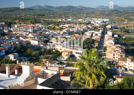 Capdepera, Mallorca, Balearic Islands, Spain. View over rooftops from battlements of the Castell de Capdepera. - Stock Photo