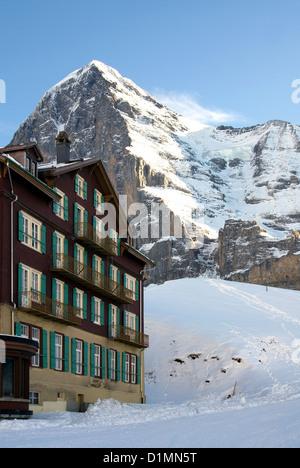 eiger mountain kleine scheidegg mountain pass hotel jungfrau stock photo royalty free image. Black Bedroom Furniture Sets. Home Design Ideas