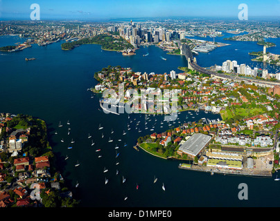 Aerial view Sydney Harbour Australia - Stock Photo