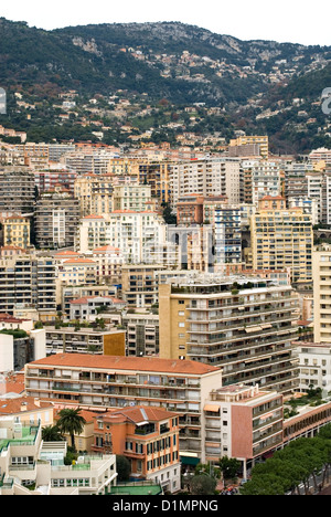 Apartment buildings in the densely populated city of Monte Carlo, Monaco - Stock Photo