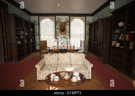 Library in Plum Orchard Mansion on Cumberland Island National Seashore - Stock Photo