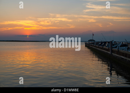 sunset along the bay in Beach Haven, Long Beach Island, New Jersey - Stock Photo