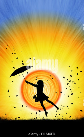 Young Girl jumping with an umbrella and teddy bear at sunset. Silhouette. Photo montage illustration - Stock Photo