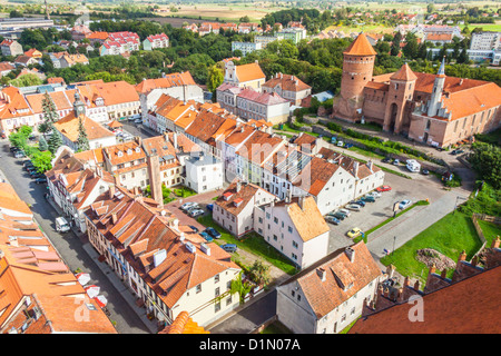 Aerial view on old town Reszel - Poland. - Stock Photo