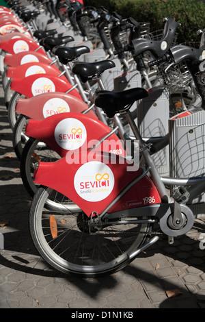 Sevici public bike rental in Seville Stock Photo ...