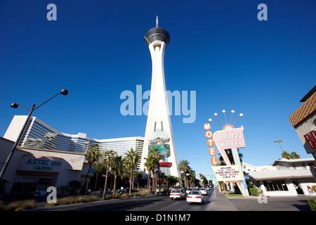 stratosphere hotel tower and casino Las Vegas Nevada USA - Stock Photo