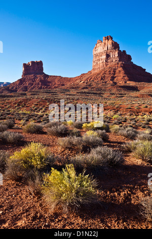 Mittens in The Valley of the Gods near Bluff Utah USA us  united states of america - Stock Photo