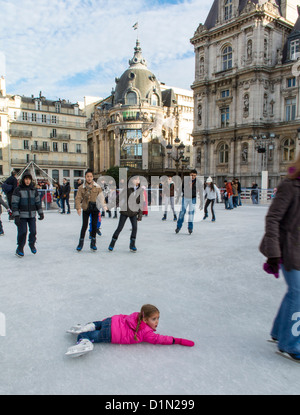 Paris, France, Street Scenes, People Ice Skating on Skating Ring at City Hall, teenagers outside urban - Stock Photo