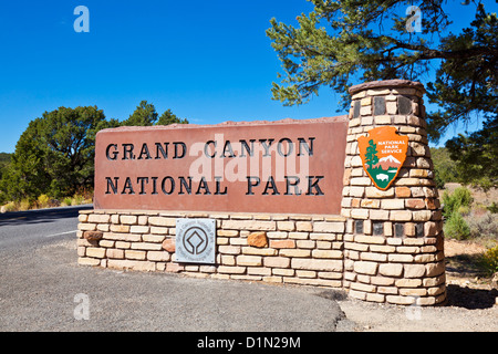 Grand Canyon National Park sign at the entrance to the park Arizona USA United States of America - Stock Photo