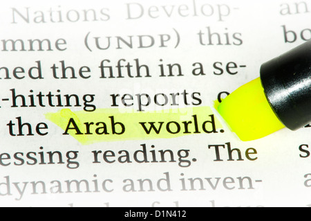 Word Arab World on newspaper - Stock Photo
