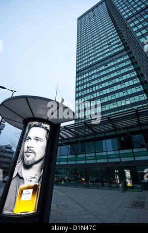 Brad Pitt's Chanel No5 ad, next to Euston Tower, Euston Road, London, England, UK - Stock Photo