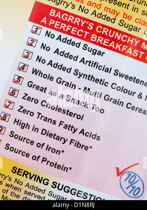 Indian breakfast cereal packet food label. India - Stock Photo