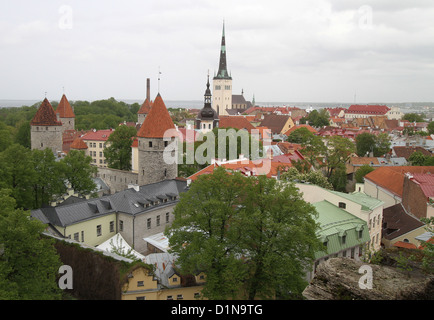 Panoramic view of the Old Town Tallinn Estonia - Stock Photo