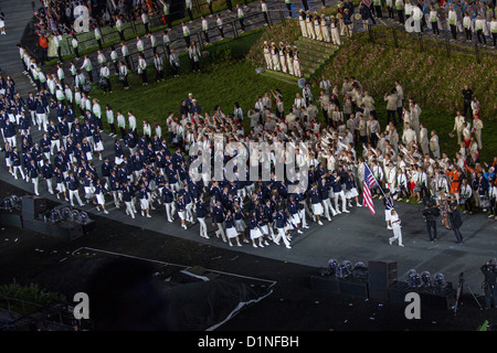 USA Team lead by flag bearer Mariel Zagunis at the Opening Ceremonies, Olympics London 2012 - Stock Photo