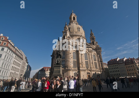 Dresden Germany Frauenkirche Church of Our Lady Lutheran church exterior tourists in plaza - Stock Photo