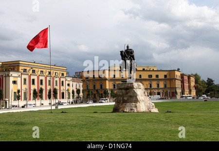 Skanderbeg Square in Tirana which is the Capital City of Albania in the Balkans - Stock Photo