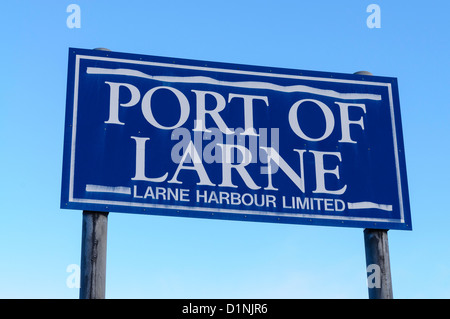 Sign at the Port of Larne ferry terminal and harbour - Stock Photo