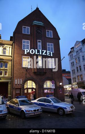 Hamburg, Germany, on the Reeperbahn Davidwache - Stock Photo