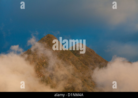 Evening light on two peaks in Volcan Baru national park, Chiriqui province, Republic of Panama. - Stock Photo