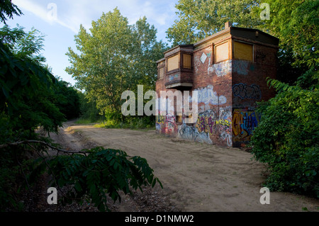 Berlin, Germany, disused signal box above the Yorkbruecken - Stock Photo