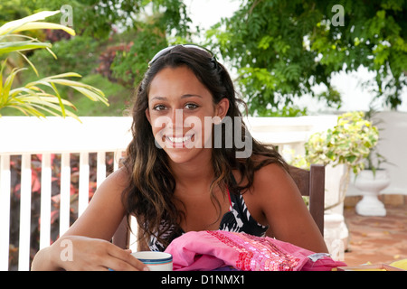 Beautiful teen teenage girl age 16 years old smiling, of indian origin - Stock Photo