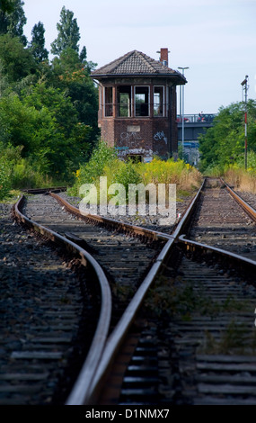 Berlin, Germany, disused signal box at Gleisdreieck - Stock Photo