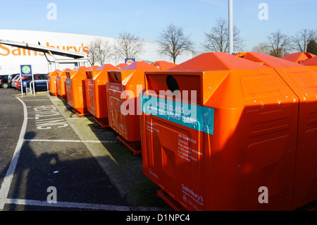 A bottle recycling point in a supermarket car park. - Stock Photo