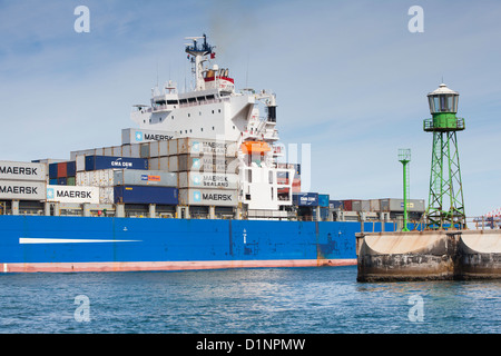 Ship leaving Cape Town Harbour - Stock Photo