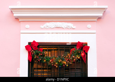 Spanish colonial facade decorated for Christmas, Old San Juan, Puerto Rico - Stock Photo