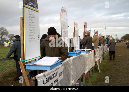 Bookies at Cottenham Point to Point Racecourse - Stock Photo