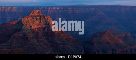 Panoramic photo of sunset from Cape Royal, North Rim, Grand Canyon National Park, Arizona, USA - Stock Photo