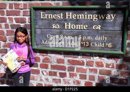Florida Key West Florida Keys Whitehead Street The Ernest Hemingway Home & and Museum sign front entrance Asian - Stock Photo