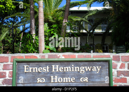 Florida Key West Florida Keys Whitehead Street The Ernest Hemingway Home & and Museum sign front entrance brick - Stock Photo