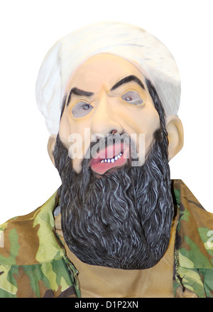 Portrait of person in mask of Osama Bin Laden, white studio background. - Stock Photo