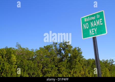 Florida Florida Keys No Name Key sign mangrove trees - Stock Photo